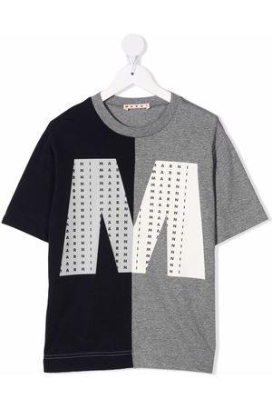 Marni Boys T-shirts - Two-tone logo-print T-shirt - Grey