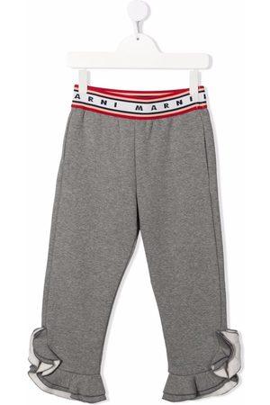 Marni Girls Pants - Jersey ruffle-cuff trousers - Grey