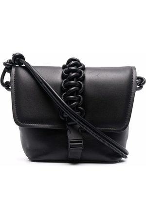 KARA Leather-woven satchel