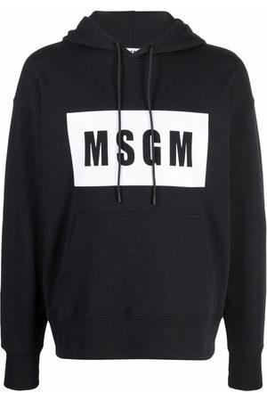 Msgm Contrast-logo long-sleeve hoodie