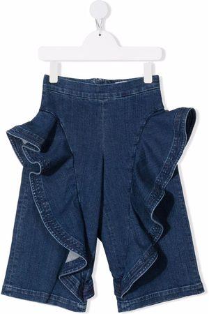 Simonetta Ruffled-trim wide leg jeans