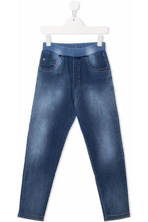 VERSACE Logo-print faded straight-leg jeans