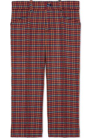 Gucci Boys Pants - Houndstooth-check wool trousers
