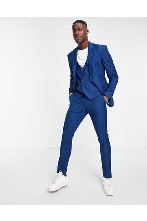 New Look Men Skinny Pants - Skinny suit pant in bright blue-Blues