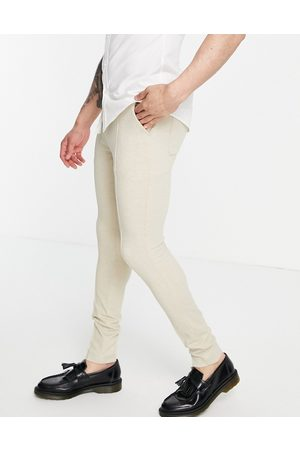 ASOS Men Chinos - Skinny smart pant in stone waffle-Neutral