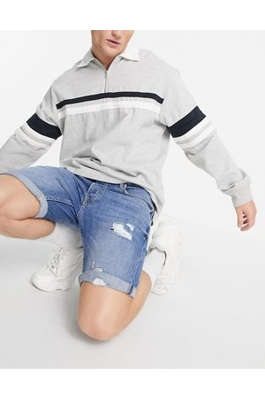 Topman Ripped stretch skinny denim shorts in mid wash-Blues