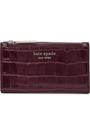 Kate Spade Women Wallets - Small bifold burgundy leather wallet