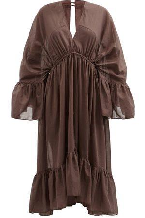 Loup Charmant Women Dresses - Sunrise V-neck Drawstring Organic-cotton Dress - Womens