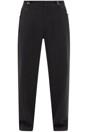 Moncler Drawstring-waist Wool-blend Wide-leg Trousers - Mens