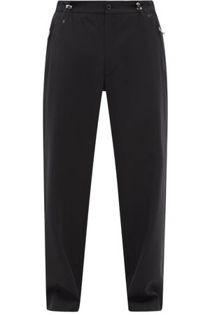 Moncler Men Wide Leg Pants - Drawstring-waist Wool-blend Wide-leg Trousers - Mens