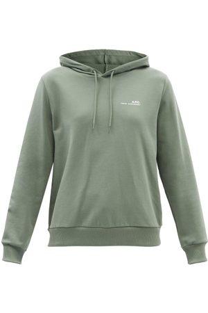 A.P.C. Item Logo-print Cotton-jersey Hooded Sweatshirt - Womens - Khaki