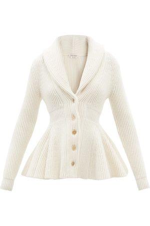 Alexander McQueen Peplum-hem Ribbed Wool Cardigan - Womens - Ivory