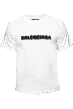 Balenciaga Logo-print Distressed Cotton-jersey T-shirt - Mens