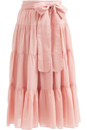 Loup Charmant Women Midi Skirts - Demeter Tiered Organic-cotton Midi Skirt - Womens