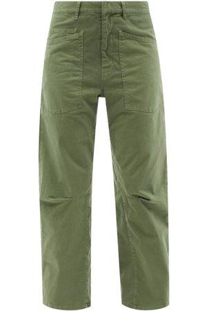 NILI LOTAN Women Pants - Shon High-rise Cotton-twill Cropped-leg Trousers - Womens - Khaki