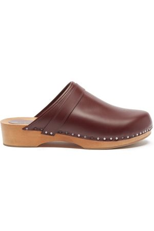 Isabel Marant Thalie Leather Clogs - Womens - Burgundy