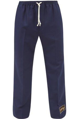 Gucci Men Pants - Retro Drawstring Gabardine Trousers - Mens - Navy
