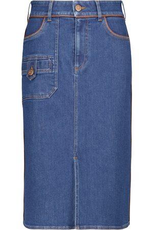 Chloé High-rise denim midi skirt