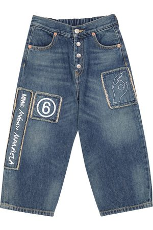 MM6 Maison Margiela Kids Wide-leg logo-patch jeans