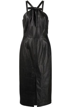 FLEUR DU MAL Women Halterneck Dresses - Faux-leather halterneck dress