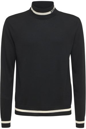 Msgm Logo Wool Blend Knit Turtleneck Sweater