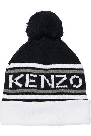 Kenzo Logo Cotton Knit Hat W/ Pompom