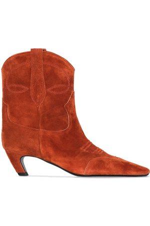 Khaite Dallas suede cowboy ankle boots
