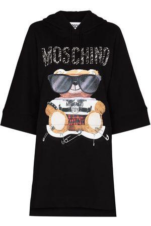 Moschino Women Printed Dresses - Teddy-print hoodie dress