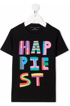 Stella McCartney Girls Short Sleeve - Happiest-print short-sleeve T-shirt