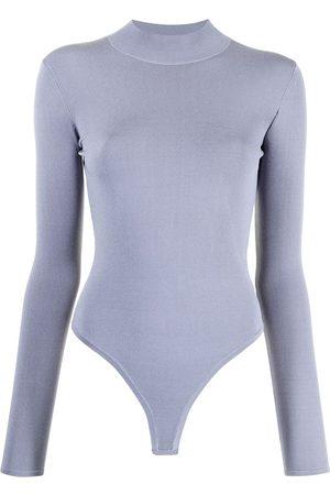DION LEE Women Backless Tops - Open-back long-sleeved bodysuit
