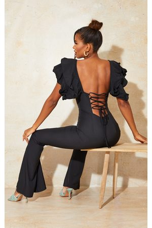 PRETTYLITTLETHING Women Jumpsuits - Lace Back Frill Sleeve Jumpsuit