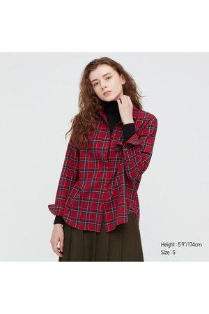 UNIQLO Women's Plaid Flannel Checked Long-Sleeve Shirt, , XXS