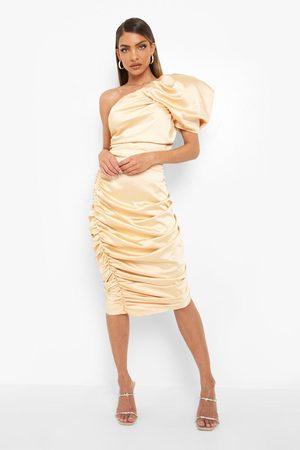 Boohoo Womens Gathered One Shoulder Mini Dress - - 2