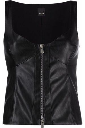 Pinko Women Waistcoats - Faux leather zipped waistcoat
