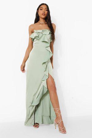 Boohoo Womens Tall Bandeau Ruffle Detail Satin Maxi Dress - - 2