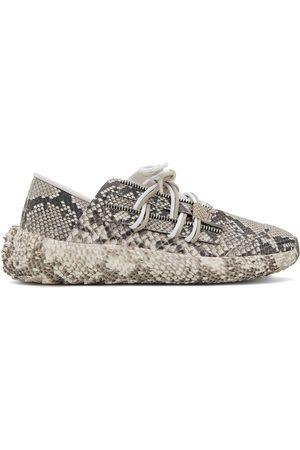 Giuseppe Zanotti Men Sneakers - Urchin snakeskin-print lace-up sneakers - Grey