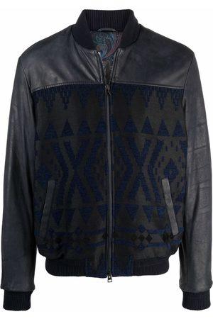 ETRO Men Leather Jackets - Carpet-Geometry Nappa Leather bomber jacket