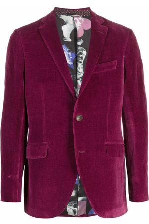Etro Men Blazers - Single-breasted velvet-effect blazer