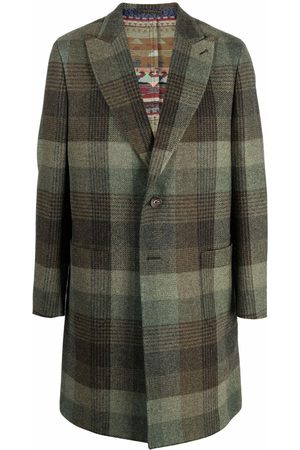 Etro Men Coats - Checked single-breasted wool coat
