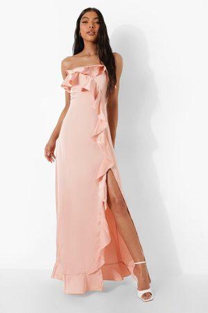 Boohoo Women Strapless Dresses - Womens Tall Bandeau Ruffle Detail Satin Maxi Dress - - 2