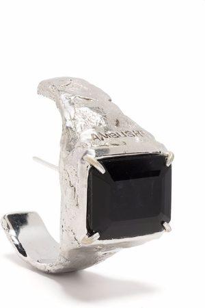 AMBUSH Earrings - S SQUARE CUT STONE EARRING PLATINO BLACK