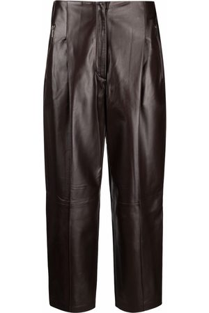 Fabiana Filippi Women Leather Pants - High-waisted cropped leather trousers