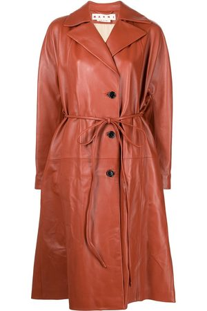 Marni Women Trench Coats - Belted leather trench coat