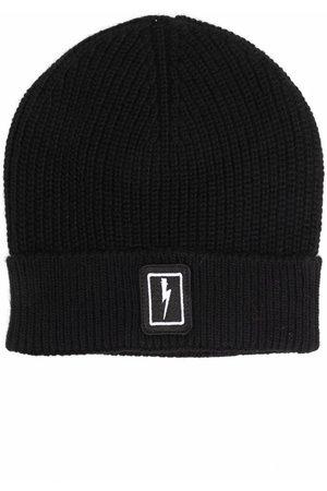 Neil Barrett Lightning patch beanie hat