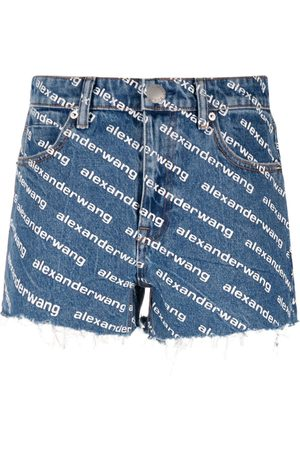 Alexander Wang Women Shorts - Logo-print denim shorts