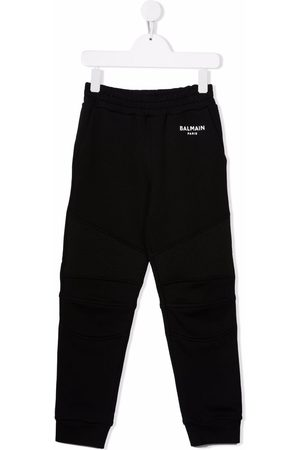 Balmain Kids Girls Sweatpants - Biker cotton track trousers