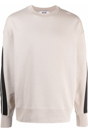 Msgm Sleeve-stripe crewneck sweatshirt - Neutrals