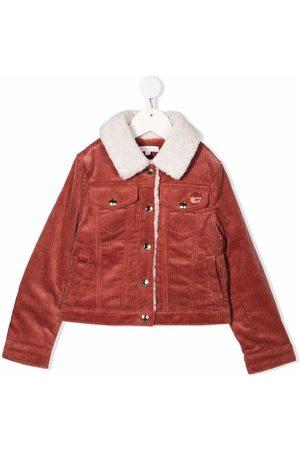 Chloé Girls Denim Jackets - Logo-badge corduroy jacket