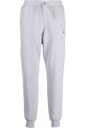 Vivienne Westwood Men Sweatpants - Drawstring-fastening logo-embroidered track pants - Grey