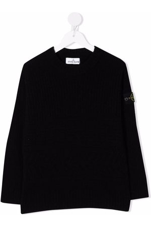 Stone Island TEEN logo-patch long-sleeve knitted jumper